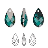 Swarovski Met Cap Pear - Emerald Light Chrome,  18 mm
