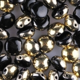 Preciosa Candy - Black Opaque, Gold Capri, Half, 20 ks
