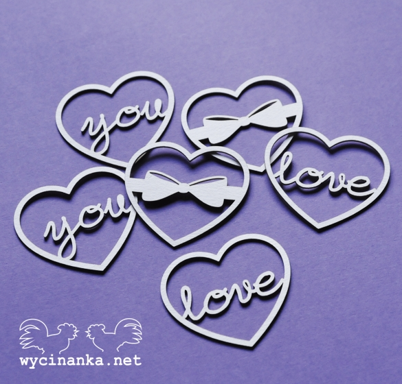 Chipboards Wycinanki - Srdce Love you